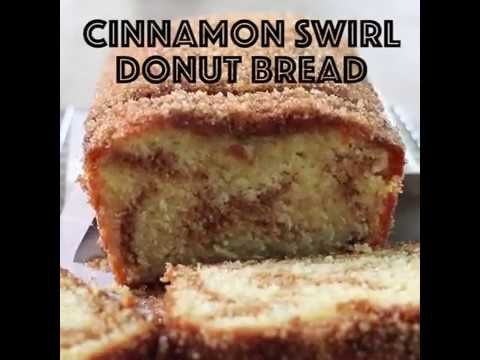 Cinnamon Swirl Donut Bread | Lauren's Latest 100 cal each for 9 pieces replace molasses with Splenda and applesauce for oil and butter