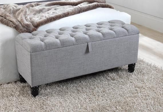 4ft Grey Arran Wool Chesterfield Buttoned Ottoman Storage Etsy Storage Ottoman Blanket Box Ottoman