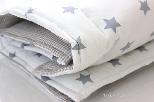 Babydecken - Krabbeldecke Babydecke ☆Sterne/Vichy☆ grau/weiss - ein Designerstück von WhiteTeddy bei DaWanda