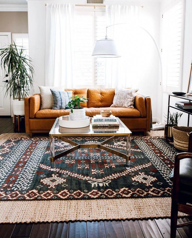 Warm Living Room Orange Sofa Layered Rugs Livingroomdesign Living Room Orange Living Room Warm Eclectic Living Room