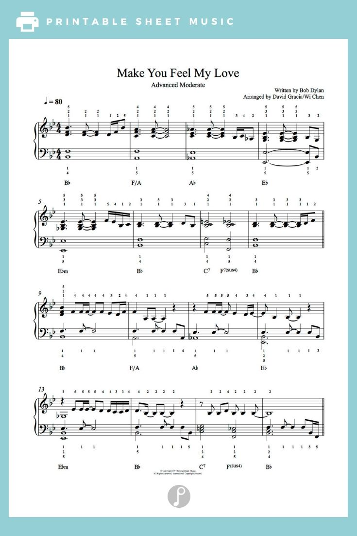 Make You Feel My Love By Adele Piano Sheet Music Advanced Level