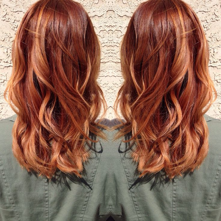 Medium copper blonde hair.