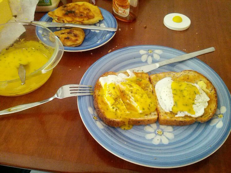 Perfect breakfast: Poached eggs and hollandaise for wife and me, blueberry pancakes for the kids!