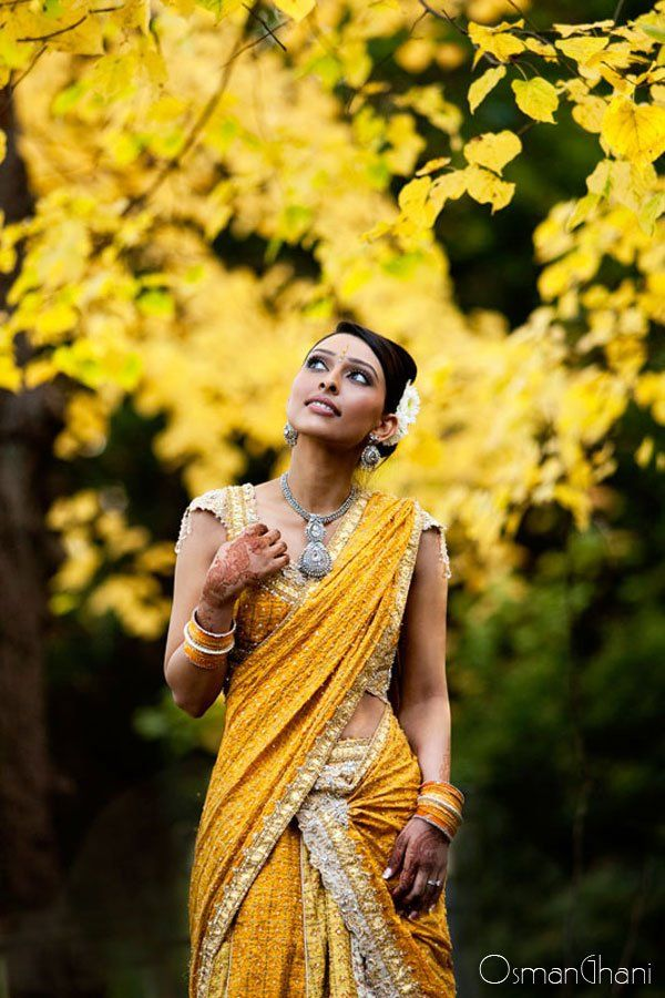 I'm skeptical about yellow wedding saris but this one is very pretty! I like the yellow/silver combo deal.