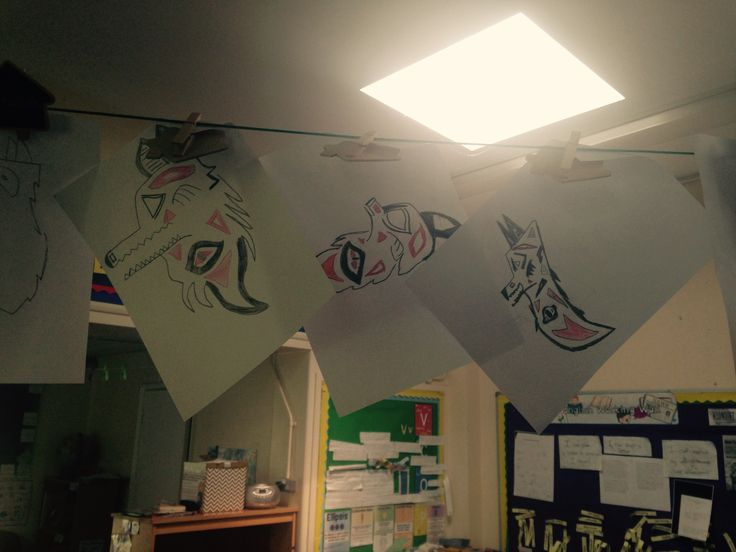 Designs for a wolf symbol, developed by Year 4 from St Nicholas Primary School, Oxford.  These designs were inspired after a visit to the Pitt Rivers Museum to do a Take One.. Totem Pole session.