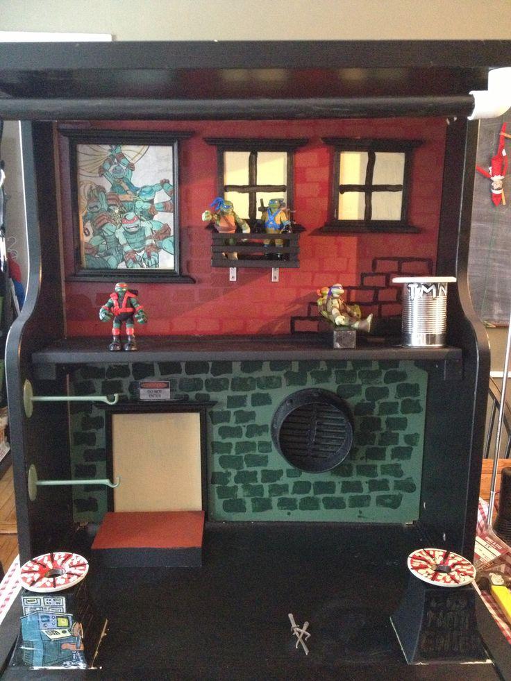 DIY teenage mutant ninja house.  Walmart a secret sewer lair was junk, so I built one for my son
