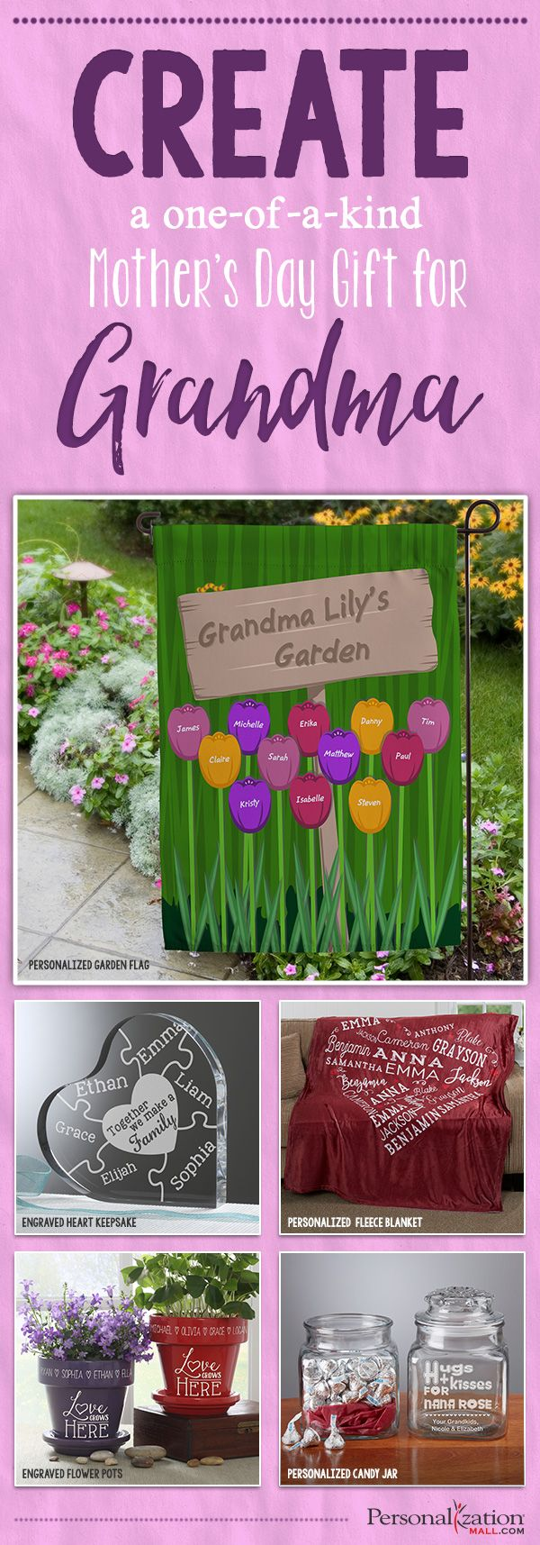 LOVE these one-of-a-kind Mother's Day Gift ideas for Grandma! They are cute and affordable Personalized Mother's Day Gifts that are so special! Such great, unique Gifts for Grandmas!