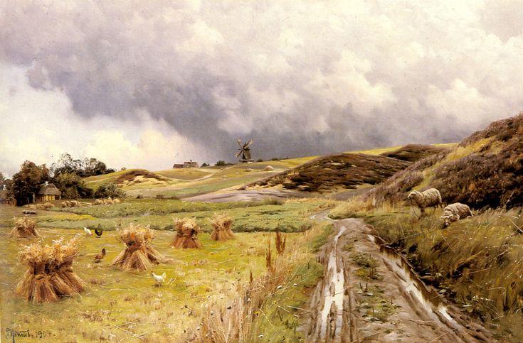 """Peder Mork Monsted (Peder Mork Mønsted) (1859-1941) A Pastoral Landscape after a Storm Oil on canvas 1904 79 x 52.3 cm (31.1"""" x 20.59"""")"""