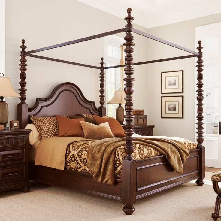 Tommy Bahama by Lexington Home Brands Kilimanjaro Candaleria Canopy Bed - Graceful turned posts give the Tommy Bahama by Lexington Home Brands Kilimanjaro Candaleria Canopy Bed its traditional charm. This richly decorative c...