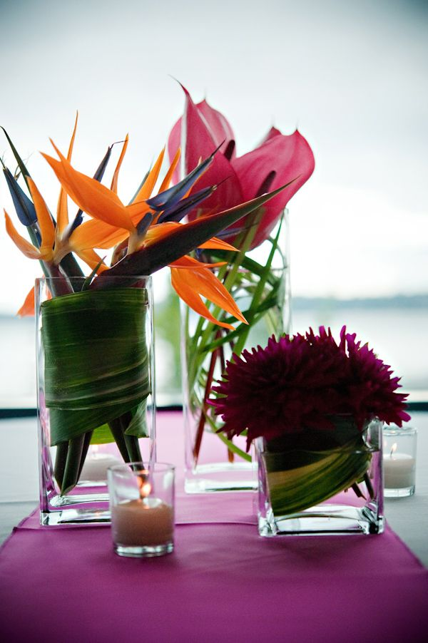 Reception Floral Details   Tropical Floral Arrangements Including Dark Pink  And Orange Birds Of Paradise   Part 65