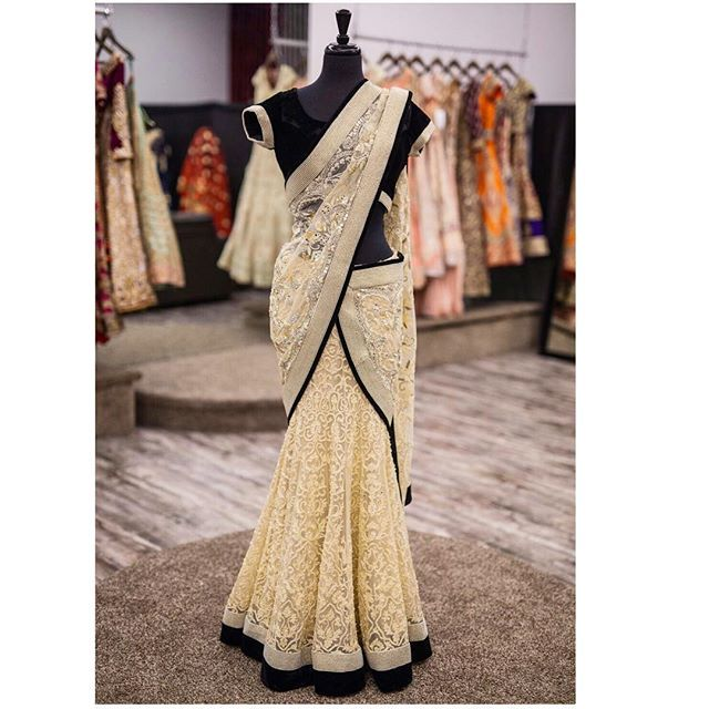 Classy and chic! This beautiful off white lehenga saree  Is the epitome of classy. We love the modern look of the off white and black!  This beautiful saree has chikankari embroidery paired with a black velvet blouse and has a pearl border  All of our pieces are customizable to meet your requirements and personal style! Email us at sales@wellgroomed.ca Out of the country? We've got you covered! We offer phone and skype consultations as well!  Drop by one of our retail locations:  6028…