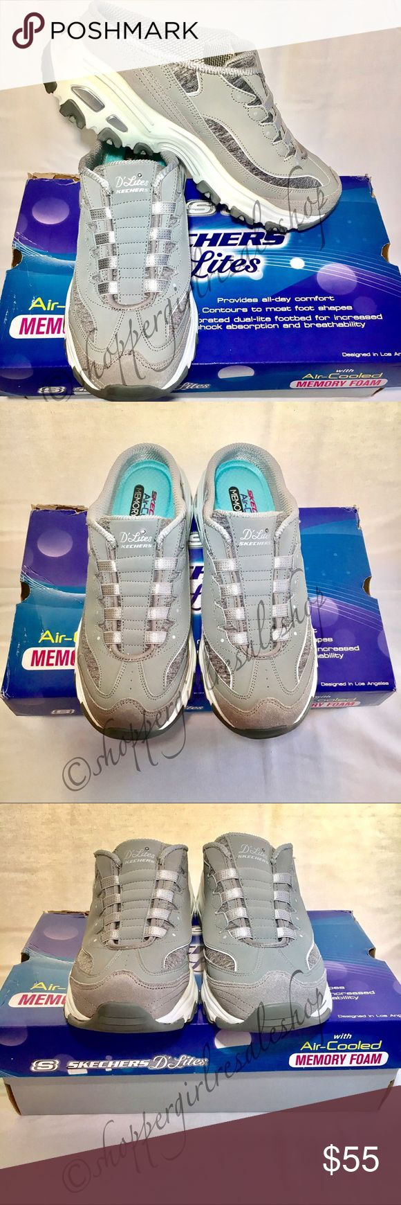 JUST IN!! Gray SKECHERS D'LITES Sneakers ✨LIKE NEW✨ Women's Gray and White SKECHERS D'LITES Slide-In Sneakers, Air-Cooled Memory Foam. Super cute and sporty. Excellent condition, no damage. Practically new, only worn on carpet.    ~Thanks for shopping by  and taking a look. ❗️**Please N Trades, N Holds, N Low Ball offers.** ❗️Thank you!** {Smoke-Free Home!} Skechers Shoes Sneakers