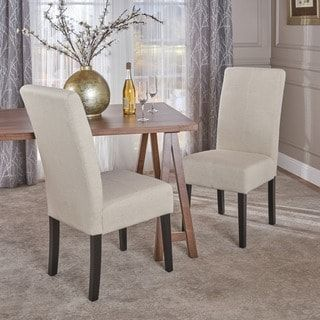 T Stitch Pattern Beige Fabric Dining Chair (Set Of 2) By Christopher Knight
