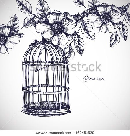 vintage birdcage and flowers drawing - Google Search                                                                                                                                                     More