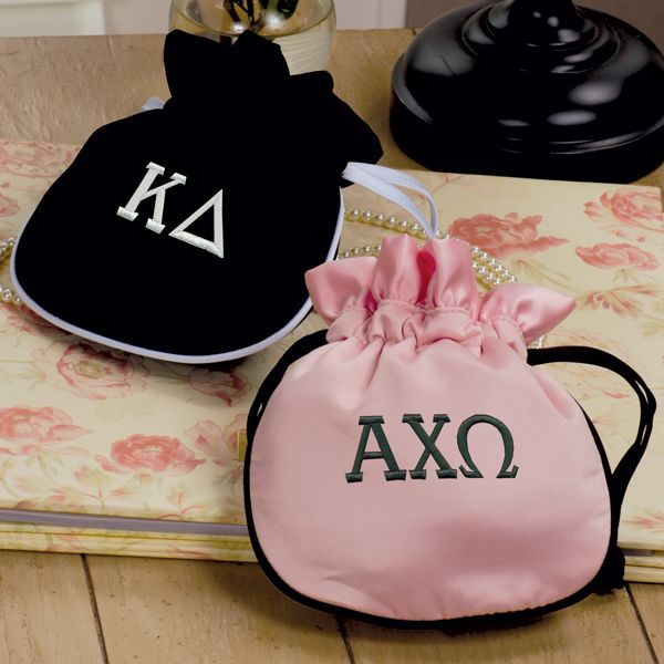 Sorority And Fraternity Gift Pouch-Black Satin with White Trim
