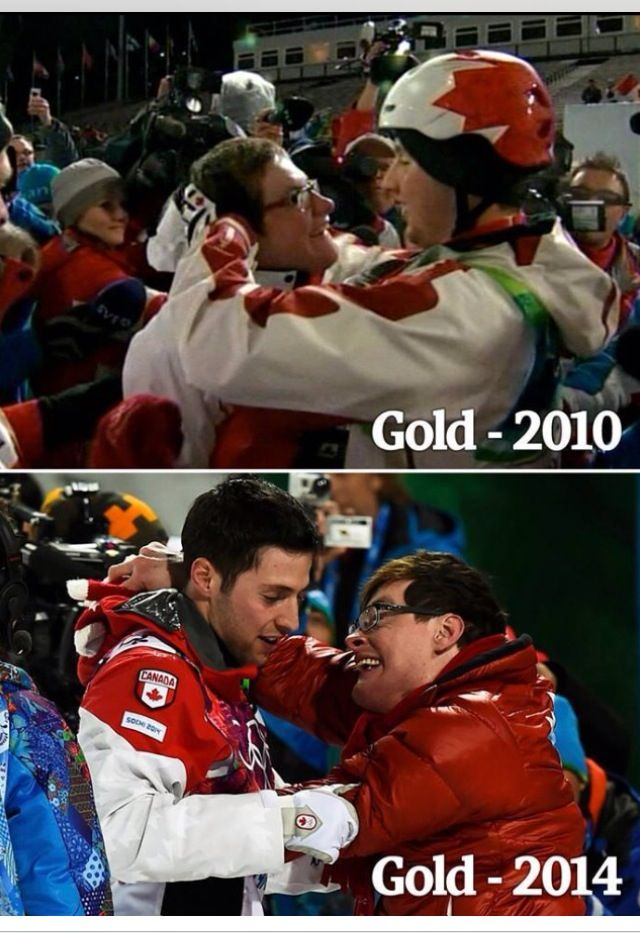 Proud to be Canadian. After winning gold, the first thing Alex Bilodeau does is include his special needs brother, Frederic, in his celebration.