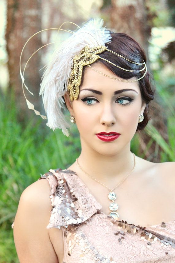 Hey, I found this really awesome Etsy listing at https://www.etsy.com/listing/218148017/party-at-gatsbys-ivory-gold-fascinator