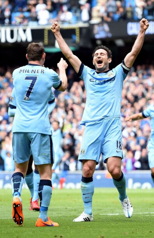 What a way to sign off ... Frank Lampard scores for Manchester City in his last Premier League game against Southampton.