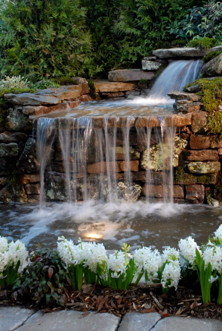 25 best ideas about garden waterfall on pinterest rock for Pictures of backyard waterfalls