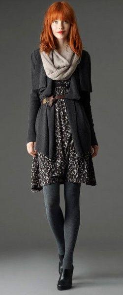 Love the dress, drapey sweater, belt combo