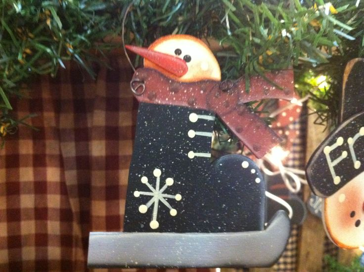 Snowman Skate Ornament - this snowman is hand painted by Melody.  Price $ 6.96 plus shipping - please message me.