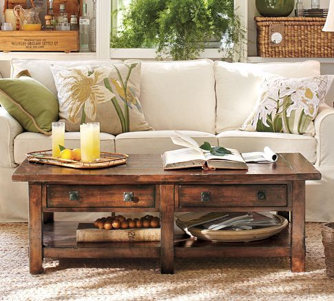 Benchwright Coffee Table - Rustic Mahogany stain | Pottery Barn