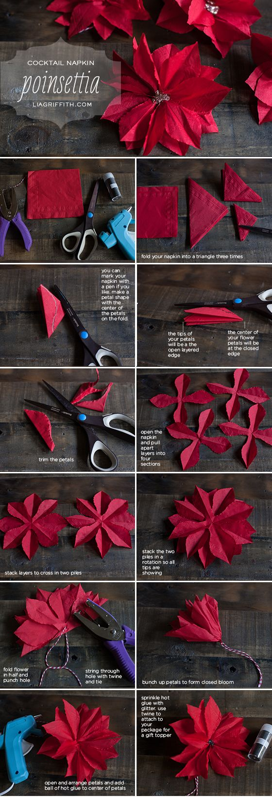 Paper Poinsettia Tutorial - by Lia Griffith -- http://liagriffith.com/make-a-paper-poinsettia-from-a-cocktail-napkin/: