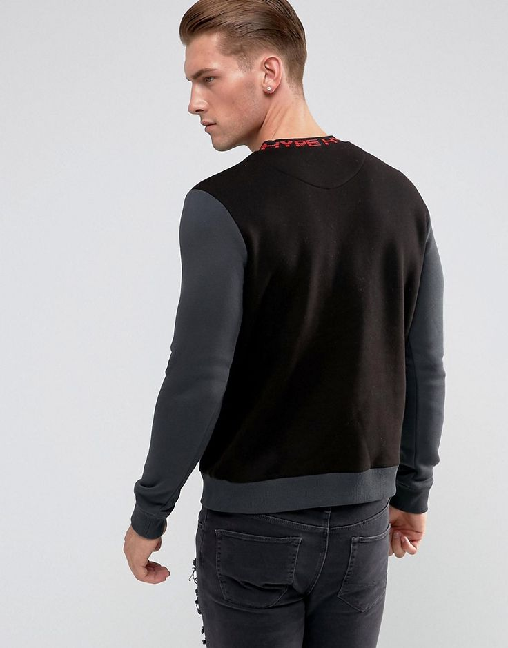 Hype Sweatshirt In Black With Jacquard Collar - Black