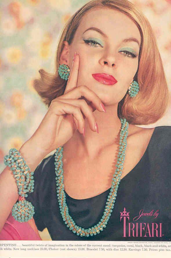 Trifari ad, amazing colours on this turquose set #vintage #jewelry