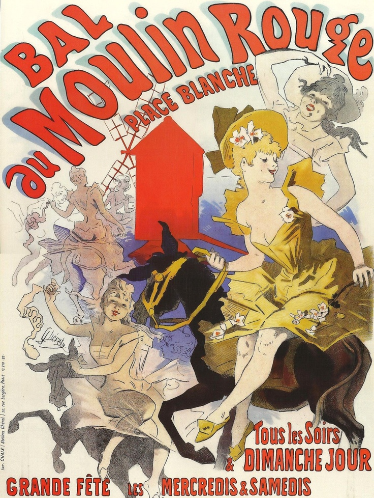 Vintage French Posters | Antique French Advertising Poster print : Bal du MOULIN ROUGE, French ...
