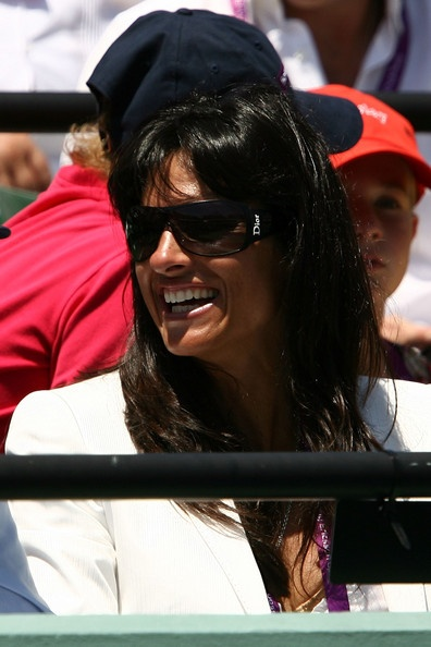 Gabriela Sabatini watches as Nikolay Davydenko of Russia plays against Rafael Nadal of Spain during the men's singles final on day fourteen of the Sony Ericsson Open at the Crandon Park Tennis Center on April 6, 2008 in Key Biscayne, Florida.  (2008-04-06 00:00:00 - Source: Clive Brunskill/Getty Images North America) | #Gabriela #Sabatini #Tennis #Sports #Argentine |