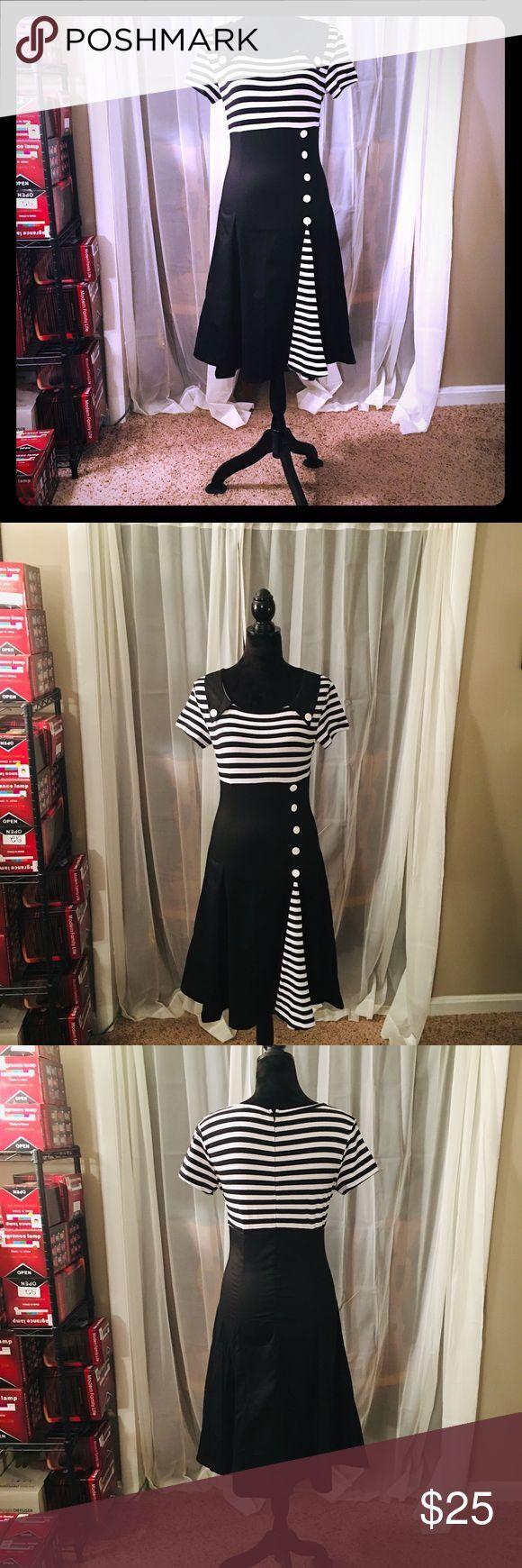 Schwarz Weißes Kleid Im Vintage Stil Schwarz Weiße Streifen Einteiler 95 Baumwolle Vintage Style Dresses Fashion Dresses Vintage Fashion