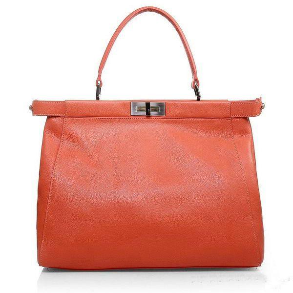 Fendi Saffiiano Ferrari Leather Tote Bag Light Orange outlet store LF863045