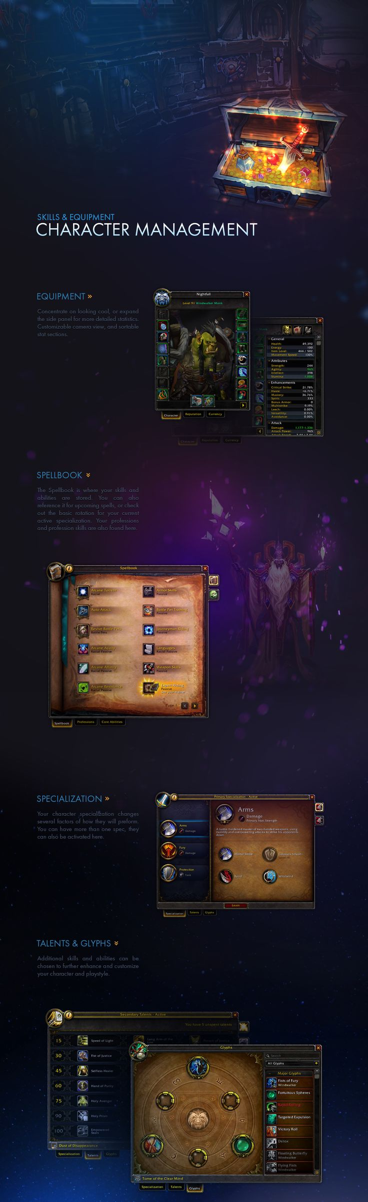I started work on World of Warcraft during the Wrath of the Lich King expansion. Along with the UI team, we crafted the look and feel for new UI designs and game features.
