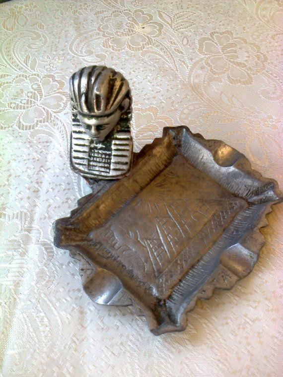 Antique metal ashtray from Egypt 40s50s / Egyptian by Lionsoul, €28.00 new lower price