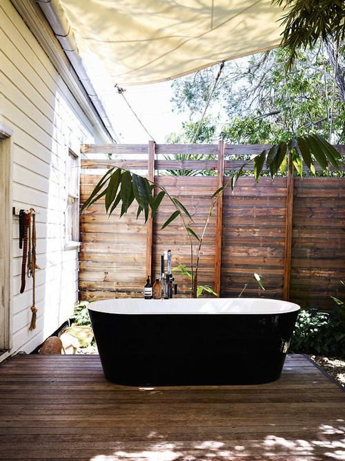 the fence, the deck, the shade/rain sail, the tub, its accourements.