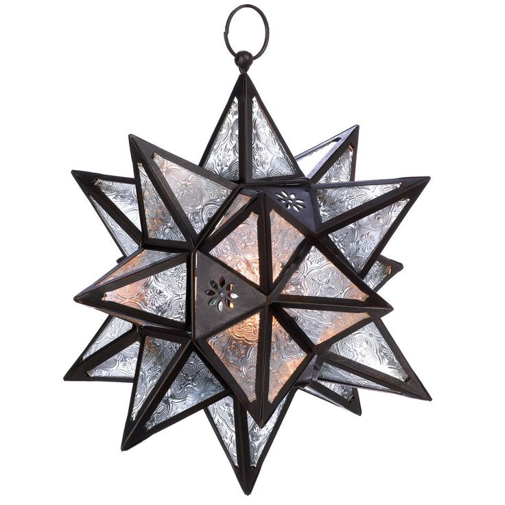 D1133 Moroccan Style Pressed Glass Hanging Star Candle Lantern in Candle Holders & Accessories | eBay
