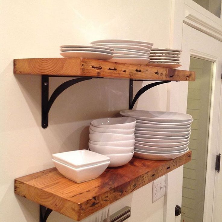 #tbt to one of our first small projects. Reclaimed shelves for kitchen. We still love the look of shelves, floating or with brackets. We have plenty in stock if you need shelves, and we ship nationwide. #shelf #reclaimed #shelves #shelving