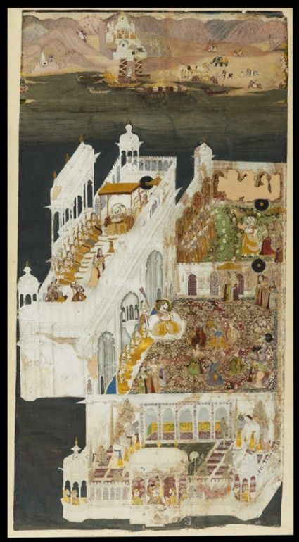 Style: Rajasthani; Type: Portraiture, court life, and mythological scenes - Scenes of court life; Title: 'Maharana Jagat Singh and his queens at Jagniwas', Udaipur, c. 1751