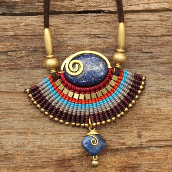 Tribal designs necklace with woven cotton and by cafeandshiraz, $56.00