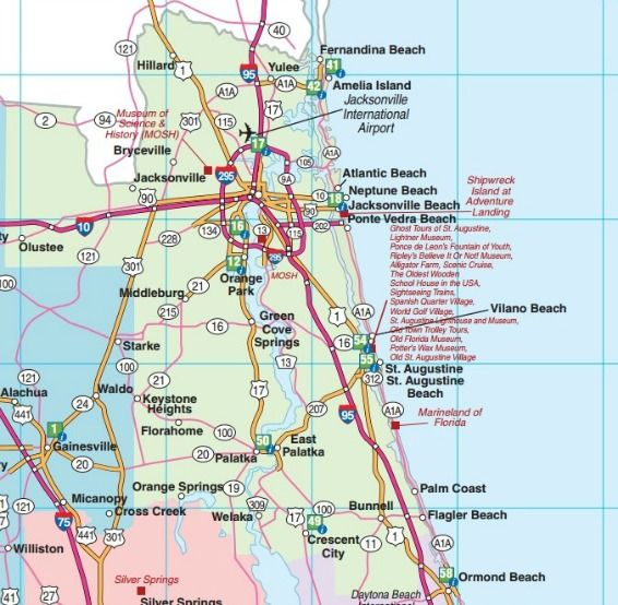 Northeast Florida road map showing main towns, cities and highways ...