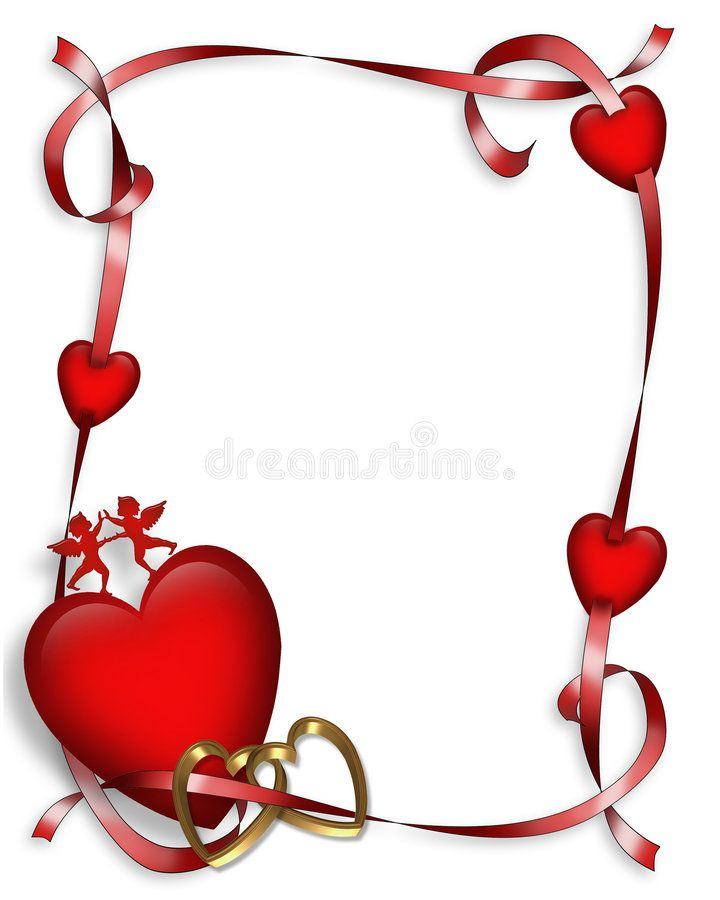 Valentines Day Hearts Border 3d Valentines Day Heart And Ribbon Border With Lit Sponsored Heart Ribbon Bord Clip Art Borders Valentines Clip Clip Art
