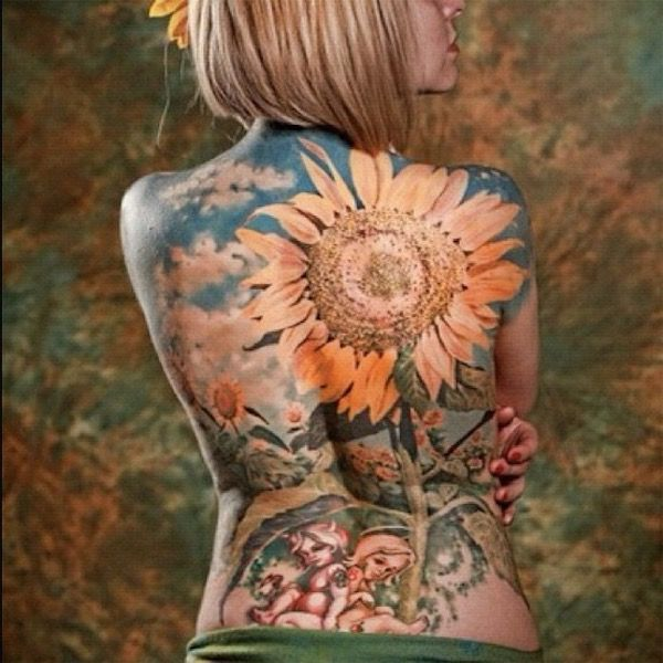 10 Floral Tattoo Artists You Could Trust Your Skin To: Back Piece Sunflower Tattoo