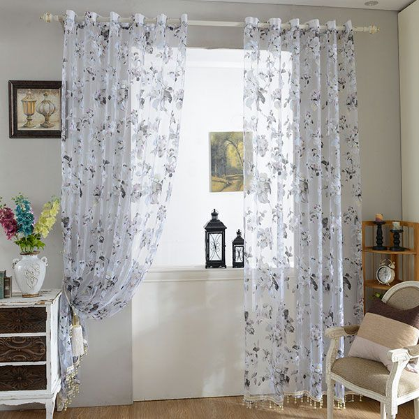 9c9e151fcf Floral Embroidery Sheer Tulle Curtain with Beads Pendant | Blush ...