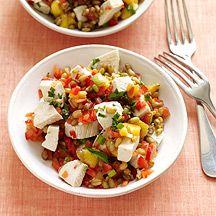 Salade de blé au poulet, pêches et estragon - WW 4PP