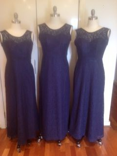Ebony's bridesmaids gowns. Navy lace over strapless satin gown. www.gownsofeleganceandgrace.com.au
