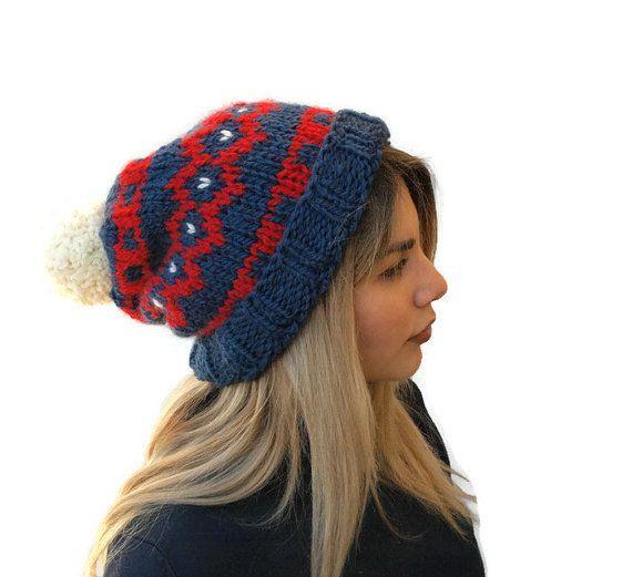knit pom pom hat Hand Knit Beanie Blue  Red  Cream by PepperKnit