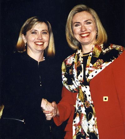 Hillary and her stunt double Theresa Barnwell