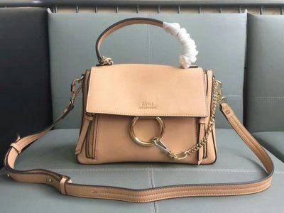 6d1b2d24f9 2017 Chloe Small Faye Day Double Carry Bag in blush nude smooth   suede  calfskin