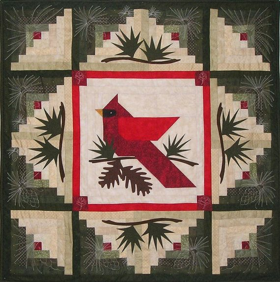 """Winter's Majesty Wall Quilt Pattern  (Note: Cardinal is similar to center cardinal in quilt """"Cardinal View"""", Quilt Maker Issue 100, Nov-Dec 2004 - https://www.quiltandsewshop.com/product/Cardinal-View/quiltmaker-patterns)"""